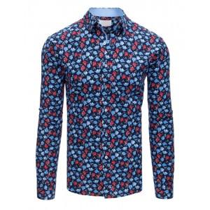 Tmavě modrá pánská košile s výraznými vzory květin v slim fit střihu