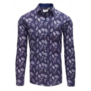 Stylová pánská slim fit košile fialové barvy se vzorem bílých listů
