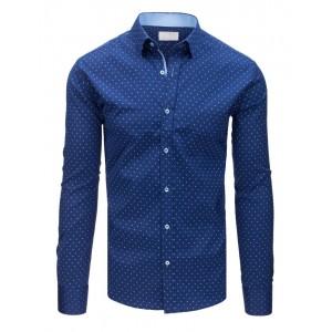 Luxusní modrá pánská košile v slim fit střihu s módním bílým vzorem
