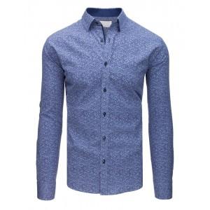 Elegantní světle modrá vzorovaná pánská košile v slim fit střihu