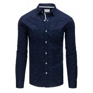 Stylová slim fit pánská košile tmavě-modré barvy se vzorem
