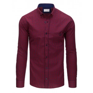 Moderní károvaná slim fit pánská košile v červeno-modré barvě