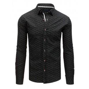 Exkluzivní černá pánská košile se vzorem miniatur geometrických tvarů