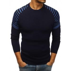 Modrý pansky svetr s kulatým výstřihem
