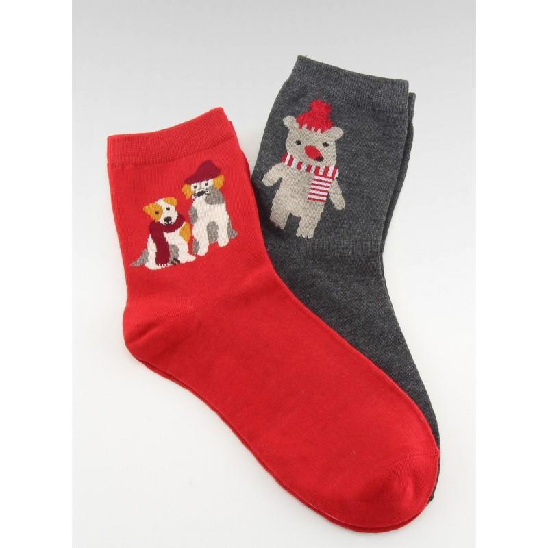 e7d3f977694 Dámské vánoční ponožky červené a šedé barvy
