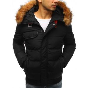 Černá stylová bunda na zimu pro pány