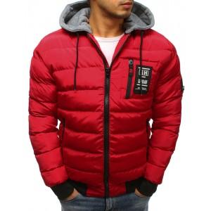 Červená stylová bunda na zimu pro pány
