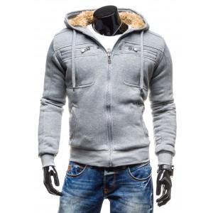 Pánská zimní bunda šedé barvy s vlnou uvnitř s kapucí