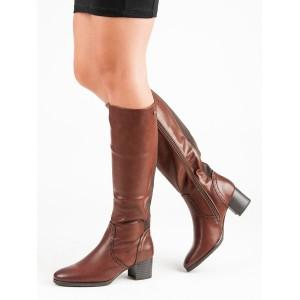 Decentní dámské kozačky pod kolena s trendy štepováním a zadní gumou