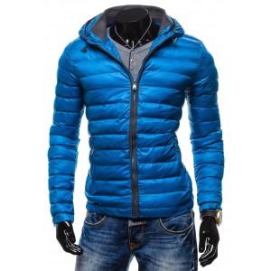 Pánské zimní bundy modré barvy s kapucí