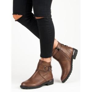 Dámské hnědé kotníkové zimní boty s vybíjením podpatkem a přezkou