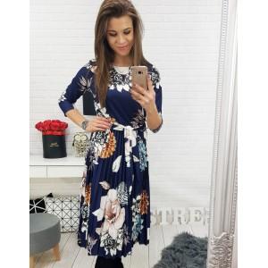 Dlouhé dámské kytičkové šaty v modré barvě