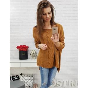Dámský svetr oversize v podzimní karamelově-hnědé barvě