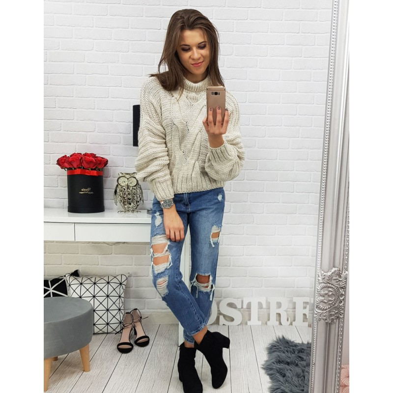 c1aaf901b865 Béžový dámský pletený svetr krátkého střihu s rolákem a trendy vzorem