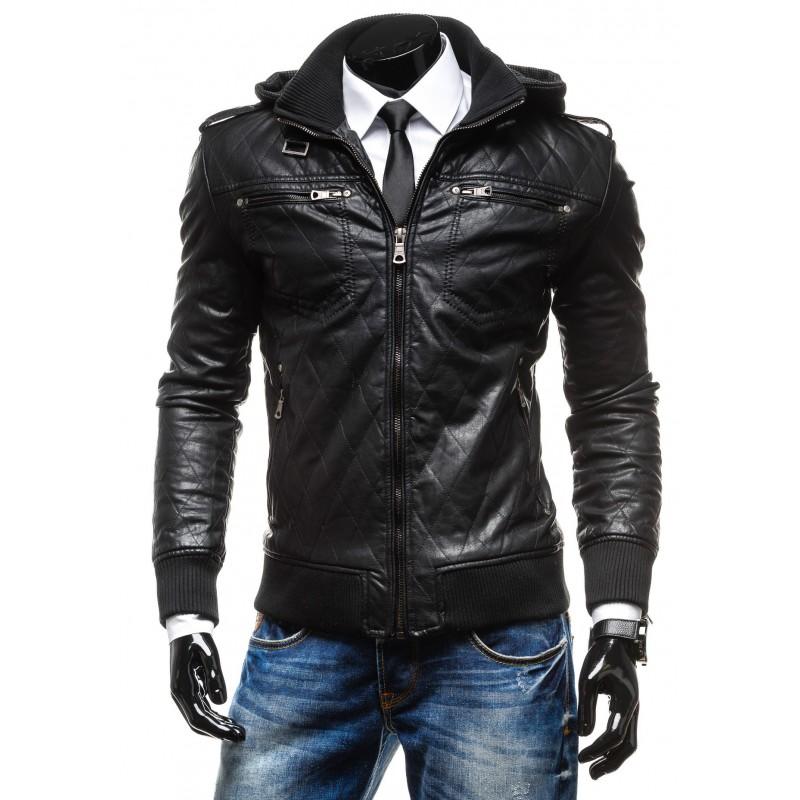 f3e96b6b4e PÁNSKÁ MÓDA Pánské kožené bundy s kapucí černé barvy. Předchozí