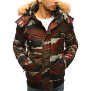 Krátká pánská zimní bunda v army stylu a bohatou kožešinovou kapucí