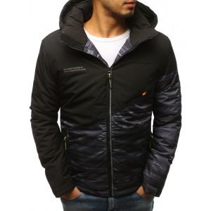 Černá krátká pánská zimní bunda s kombinací dvou barev a kapucí