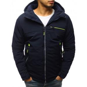 Tmavě - modrá pánská zimní bunda s neonovými pásy a kapucí