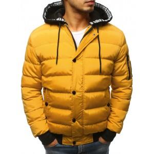 Stylová žlutá prošívaná pánská bunda s odnímatelnou kapucí
