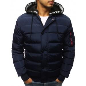 Pánská tmavě-fialová bunda na zimu s odnímatelnou bavlněnou kapucí