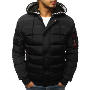 Černá prošívaná zimní pánská bunda s trendy vzorovanou kapucí