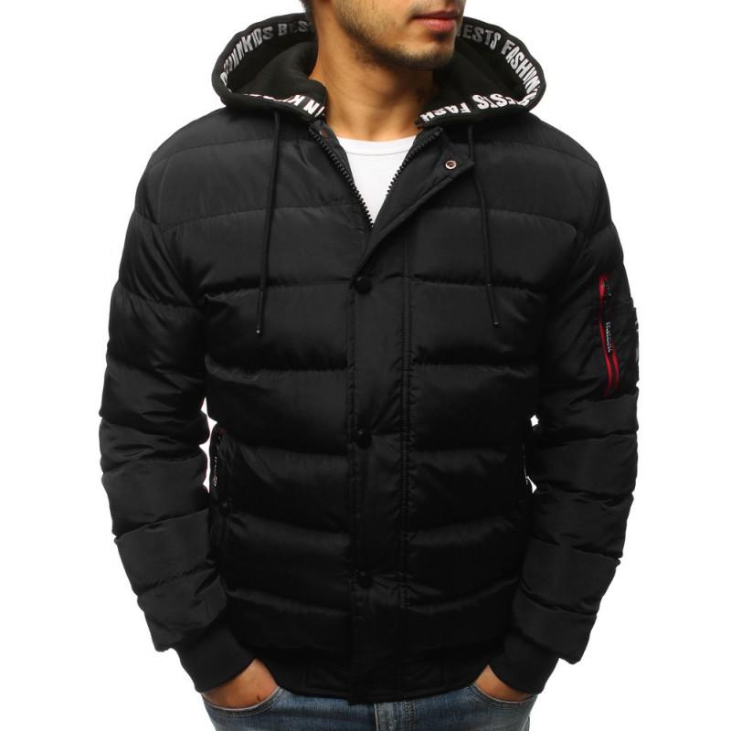 99057e7de Černá prošívaná zimní pánská bunda s trendy vzorovanou kapucí