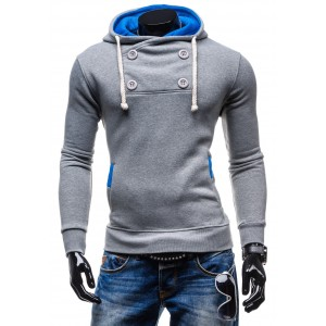 Sportovní pánské mikiny šedé barvy s kapucí