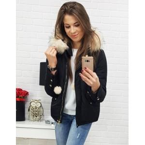 Dámská černá bunda na zimu s kontrastní bílou kožešinou na kapuci