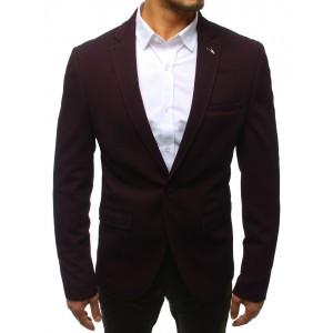 Trendy bordó pánské sako se zapínáním na jeden knoflík a kapsami