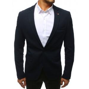 Tmavě-modré pánské sako k riflím se zapínáním na jeden knoflík