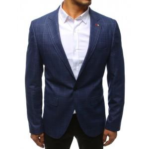 Moderní pánské modré slim sako s decentním károvaným vzorem