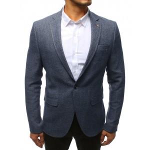 Neformální modré pánské sako na každou příležitost s módní podšívkou