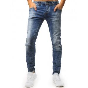Pánské světle-modré jeansy s dírami na kolenou a trendy prešúchaním