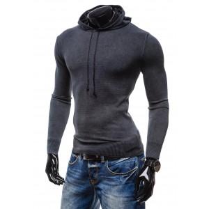 Moderní pánské svetry černé barvy s kapucí