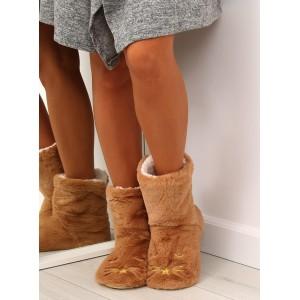 Dámské kožešinové papuče v hnědé barvě