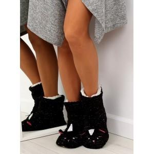 Dámské pantofle se stříbrnými nitkami s motivem černé kočičky