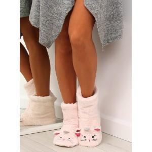 Teplé dámské pantofle s motivem kočičky v jasno růžové barvě