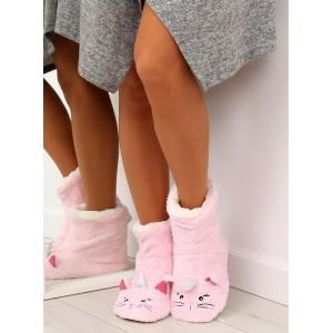 Dámske teplé ružové papuče s motívom mačičky