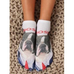 Dámské veselé ponožky pejska s názvem boss