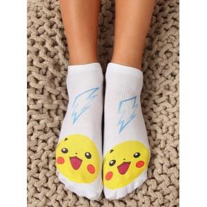 Bílé dámské ponožky s pohádkovou postavičkou pikachu