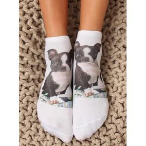 Bílé dámské ponožky s motivem pejska