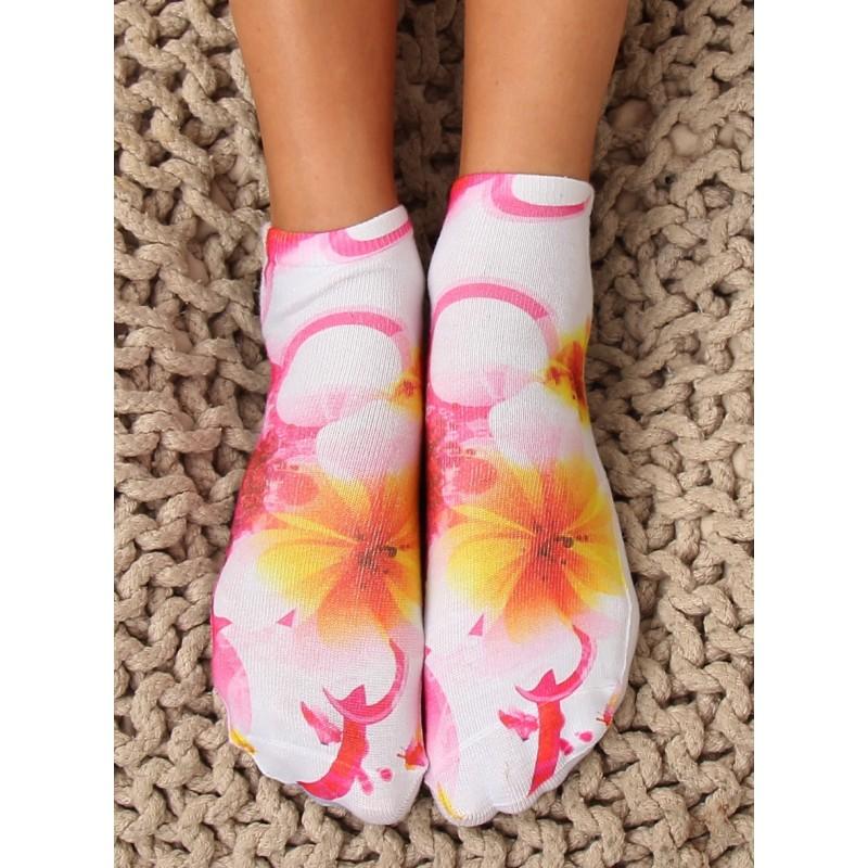 20863f64598 Originální dámské kotníkové ponožky s květinami