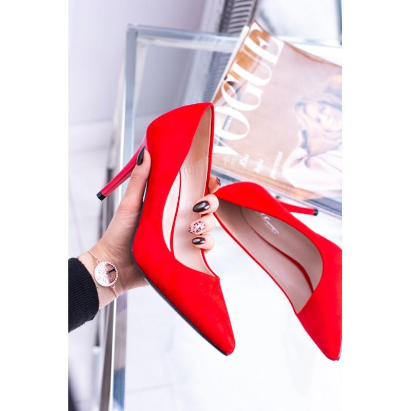 e79dc66578d Elegantní dámské červené semišové lodičky na vysokém podpatku