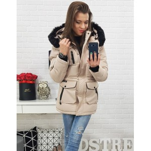 Stylová dámská béžová zimní bunda na zip s kapucí a kapsami