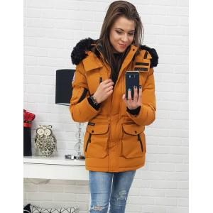 Dámská zimní bunda v hnědo-žluté barvě s kapucí a trendy designem