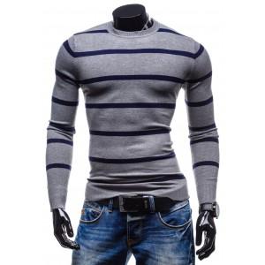 Společenské pánské svetry šedé barvy s pruhy