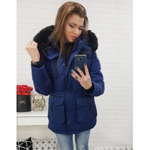 Dámská zimní bunda granátová s odnímatelnou kožešinovou kapucí