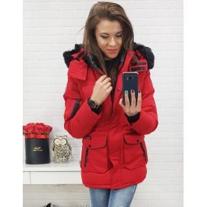 Červená dámská zimní bunda s kapucí a módními kapsami