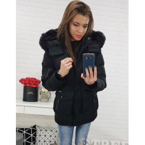 Sportovní dámská zimní bunda s kapsami a odnímatelnou kapucí
