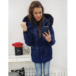 Tmavě-modrá dámská zimní bunda s kapsami a odnímatelnou kapucí